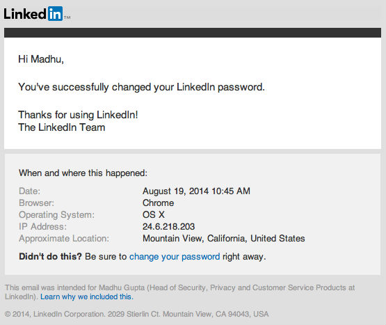 LinkedIn extra email info