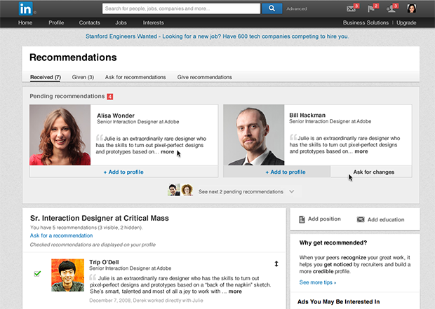 LinkedIn new recommendations page