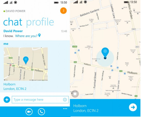 Skype location sharing for windows and windows phone