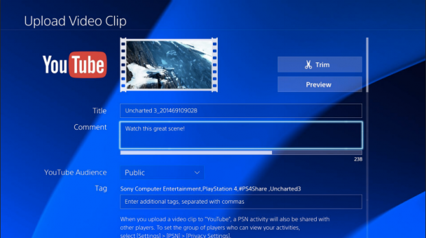 YouTube app for PS4