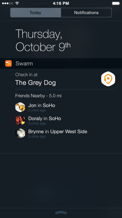swarm ios 8 fast check in
