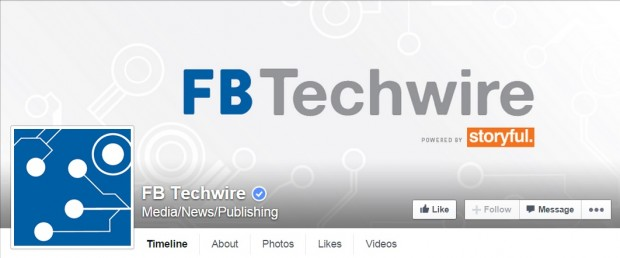 Facebook page FB Techwire for tech news