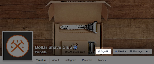 Facebook Pages call-to-action options