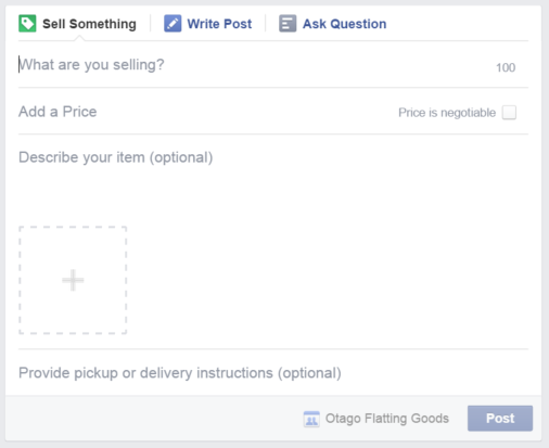 Facebook groups Sell Something option