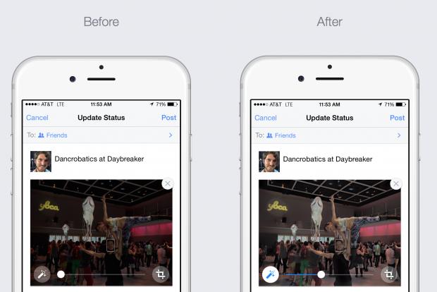 Facebook photos auto enhance on ios