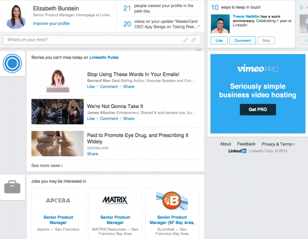 linkedin new home page