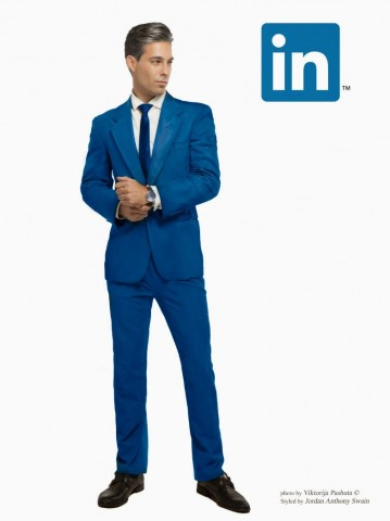 man dressed as linkedin