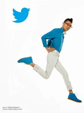 man dressed as twitter