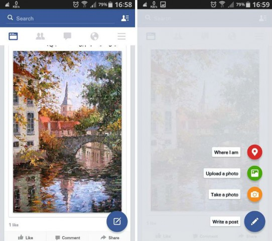 Facebook for Android tests Material Design