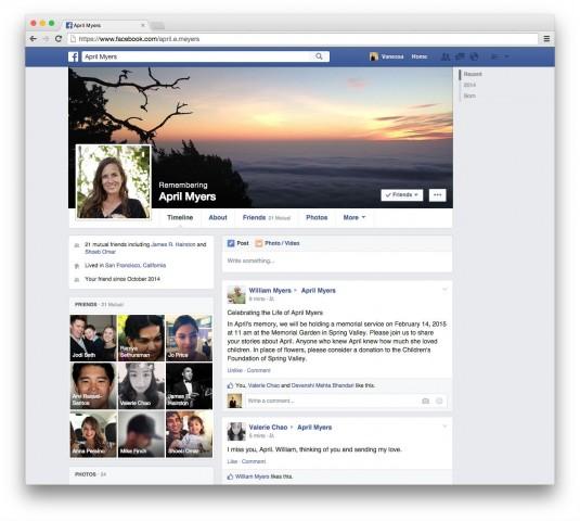 Facebook memorilized profile