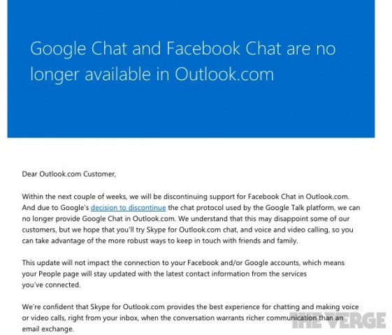 Outlook removes Google and Facebook chat
