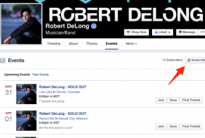Facebook pages events subscribe button
