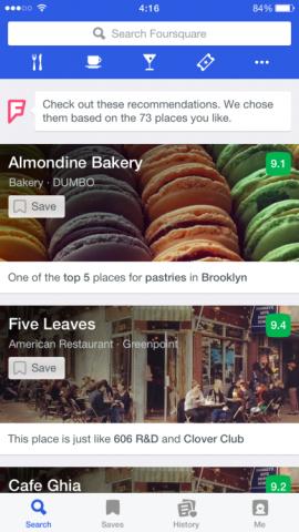Foursquare αρχική οθόνη