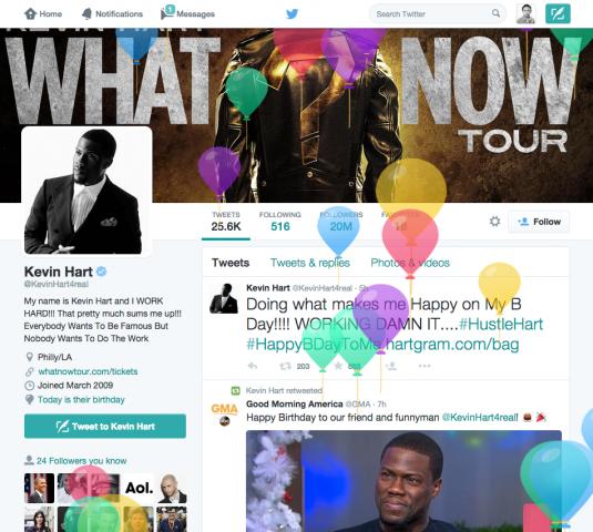 Twitter προβολή γενεθλίων