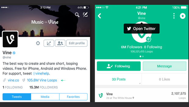 twitter and vine