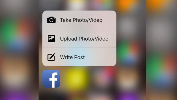 3d touch facebook iphone 6s