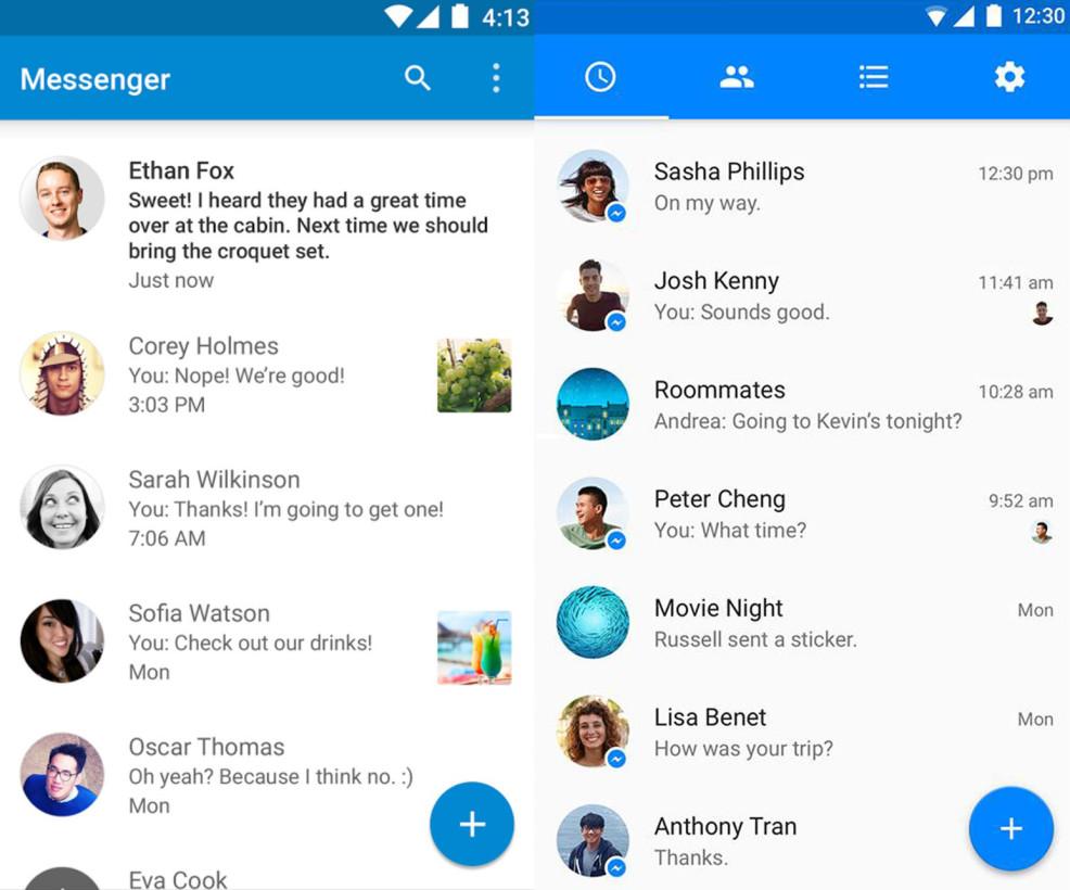 Facebook Messenger material design