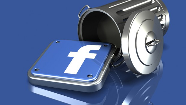 3d illustration of a metallic blue facebook logo spilling out of an overturned trash can on a blue reflective surface